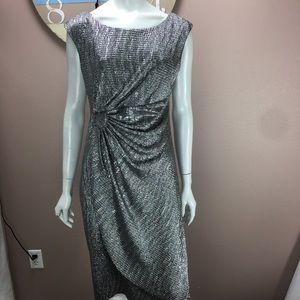 Connected Apparel Dress Metallic Silver Gathered
